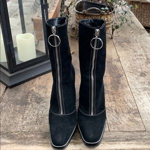 Sergio Rossi black suede boots size 38.